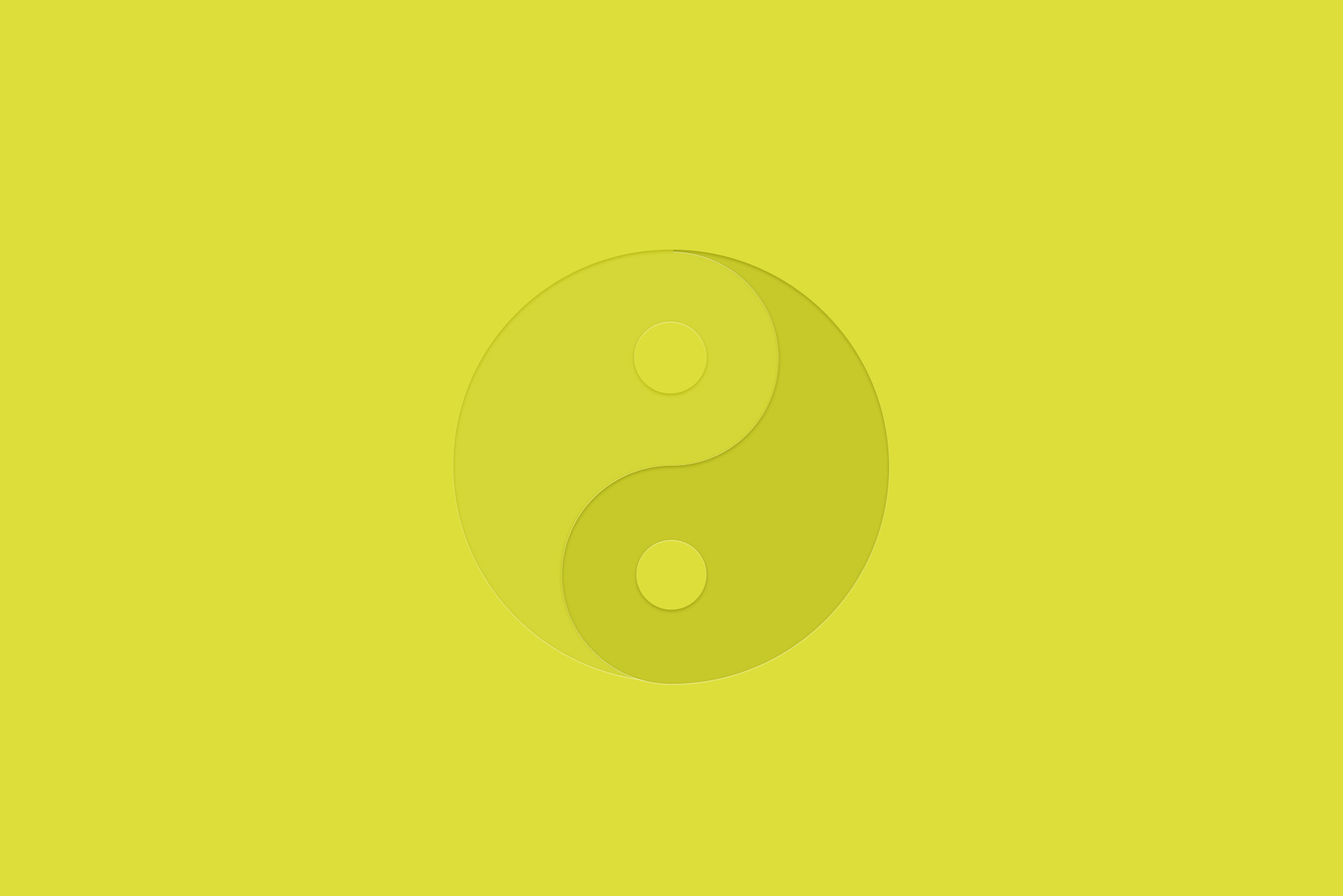 Ying and yang logo on yellow background - integrating traditional and digital