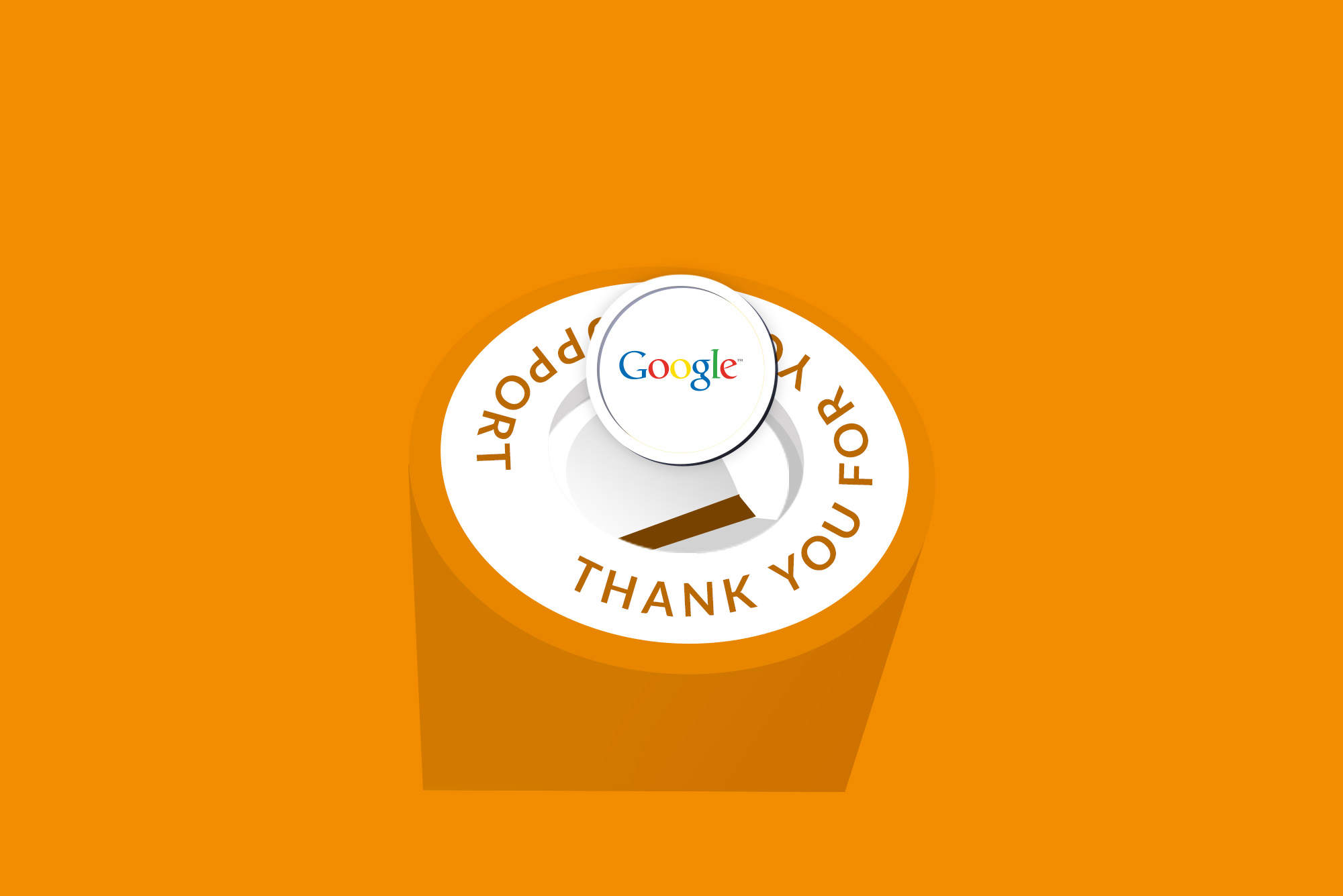 Google coin into a charity box on orange background - free ads for charities
