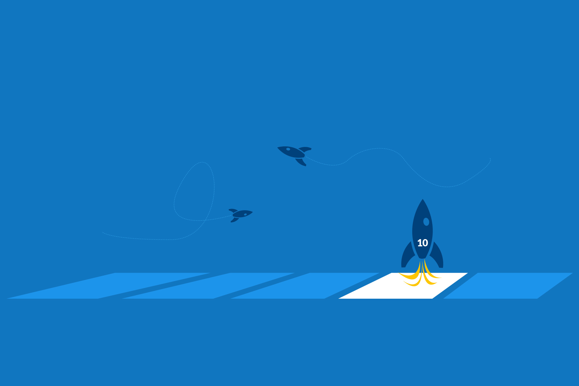Rocket landing on blue background - Homepage is dead