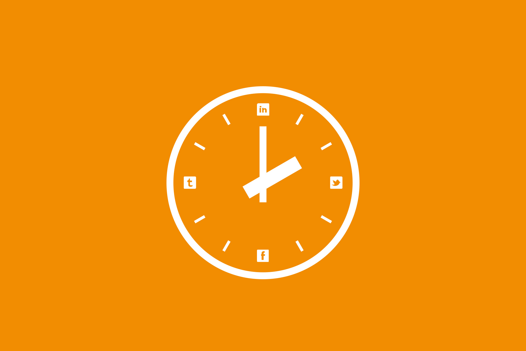 Clock with social media logos on orange background - Timing matters