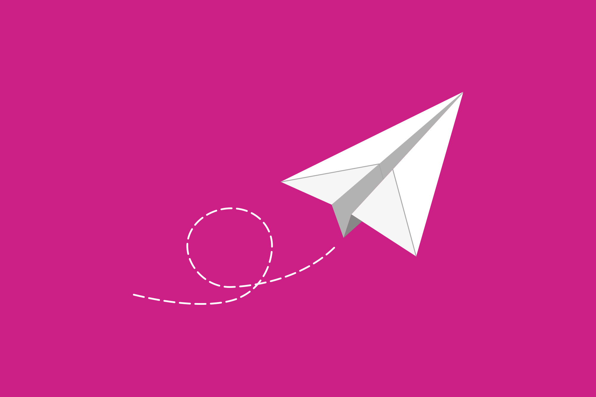 Paper airplane on pink background - Email marketing