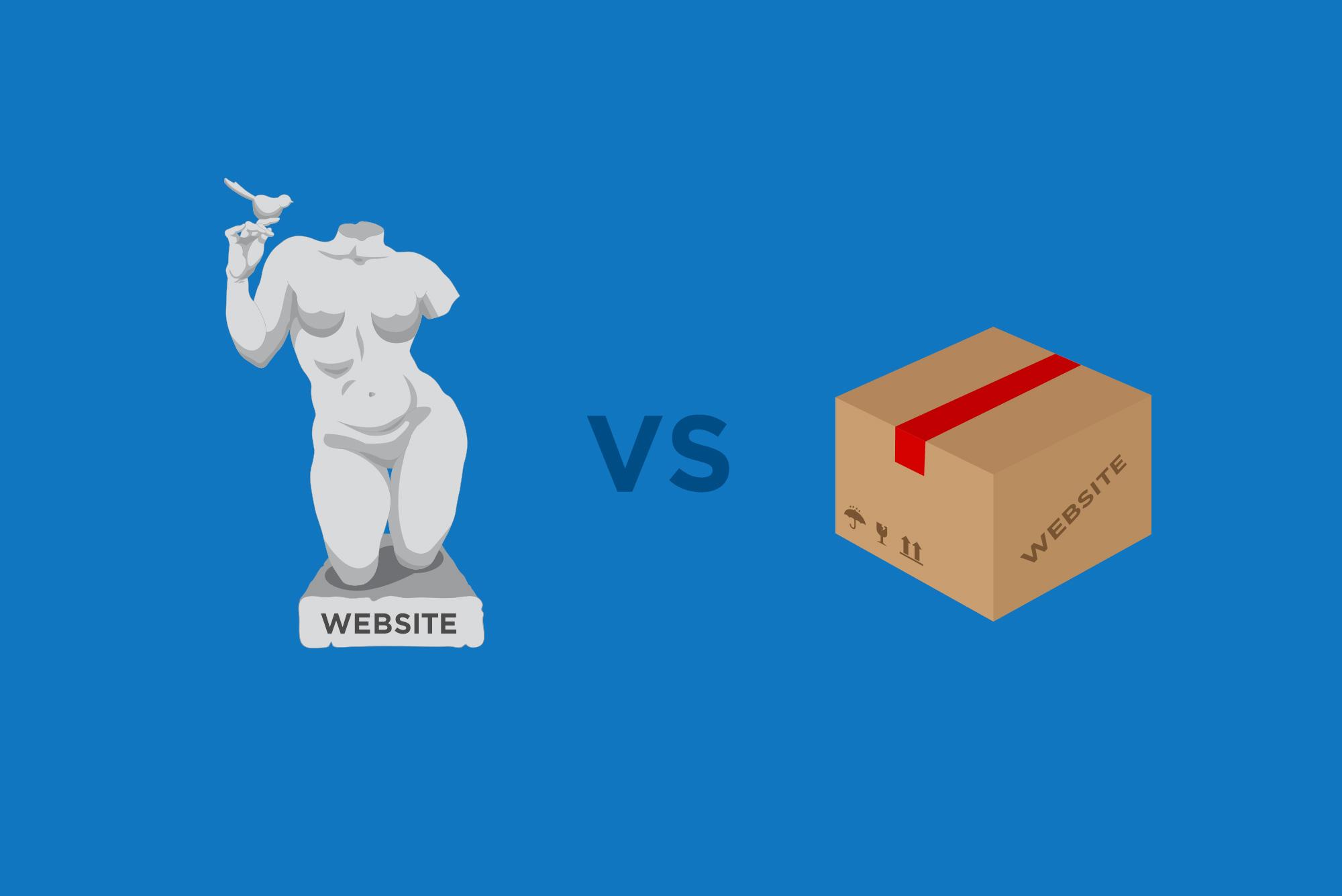 Website statue vs website box - custom vs templates