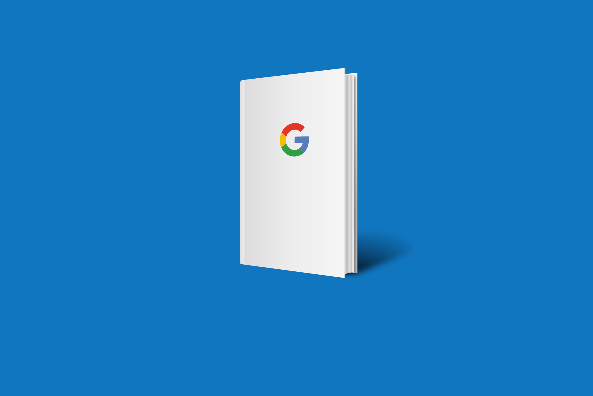 Google book on blue background - Website guidelines