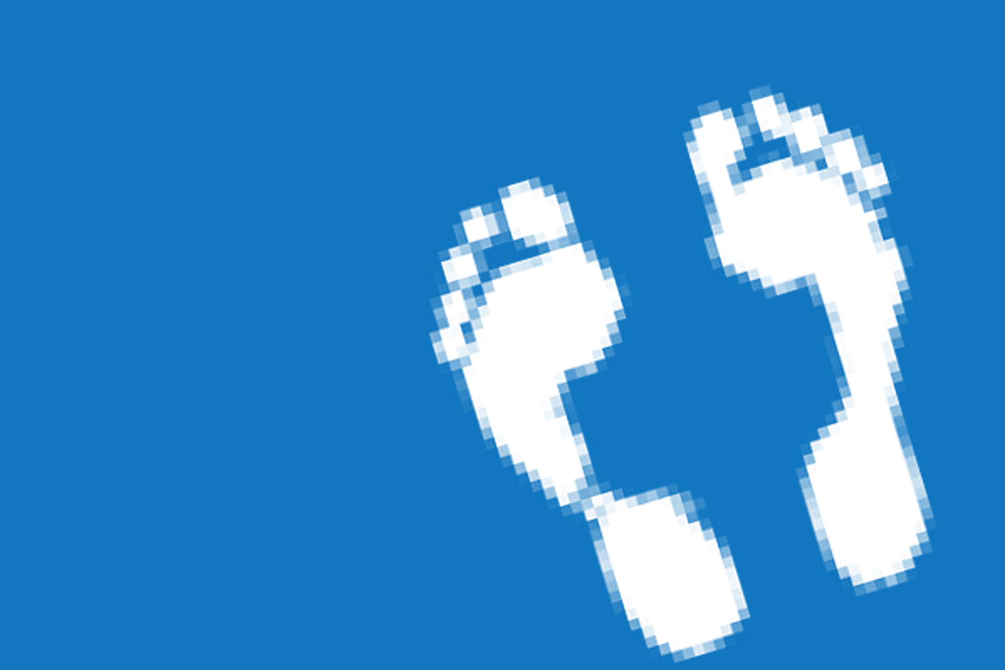 Footprint on blue background - Digital footprint