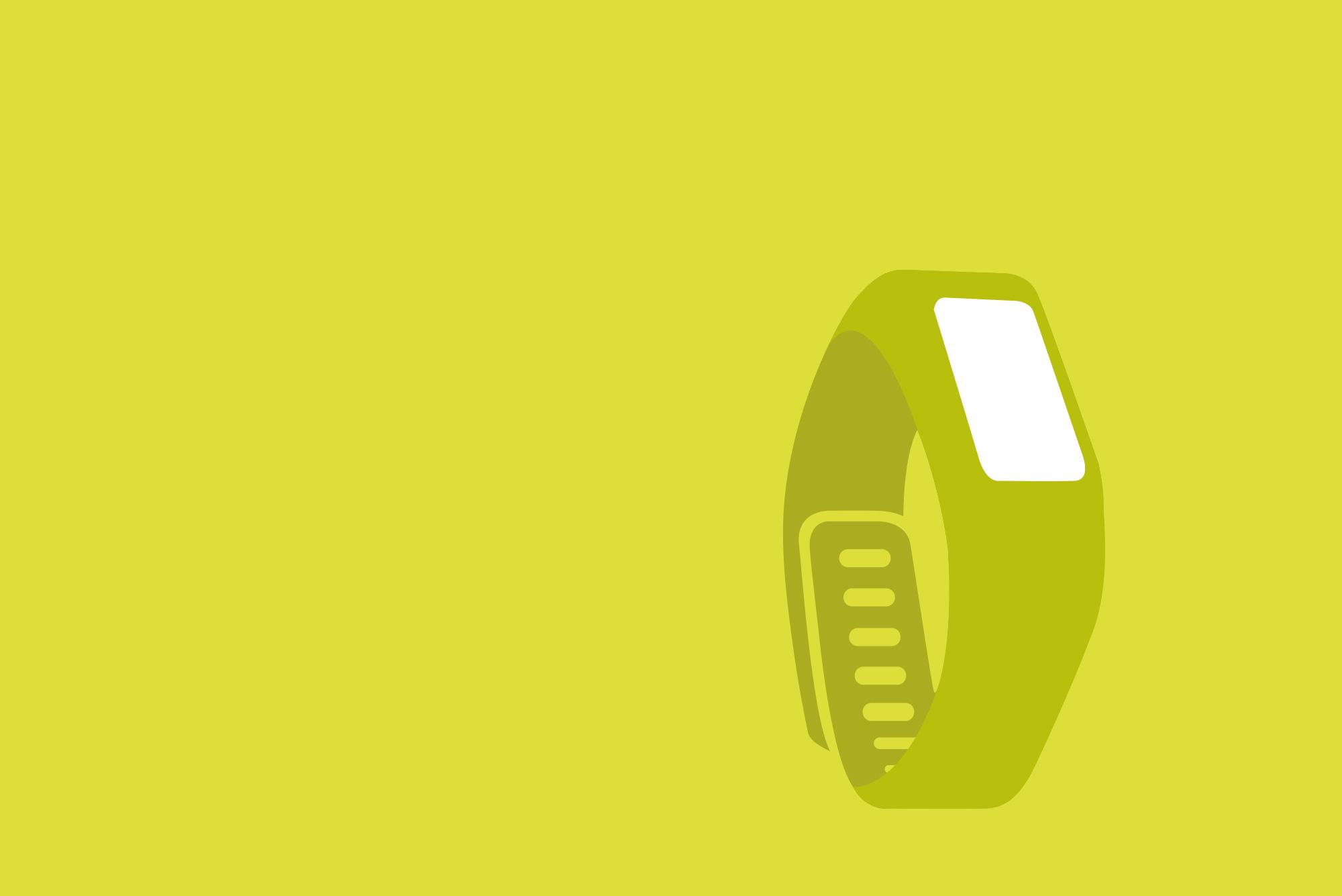 Smart watch on yellow background - Wearable tech