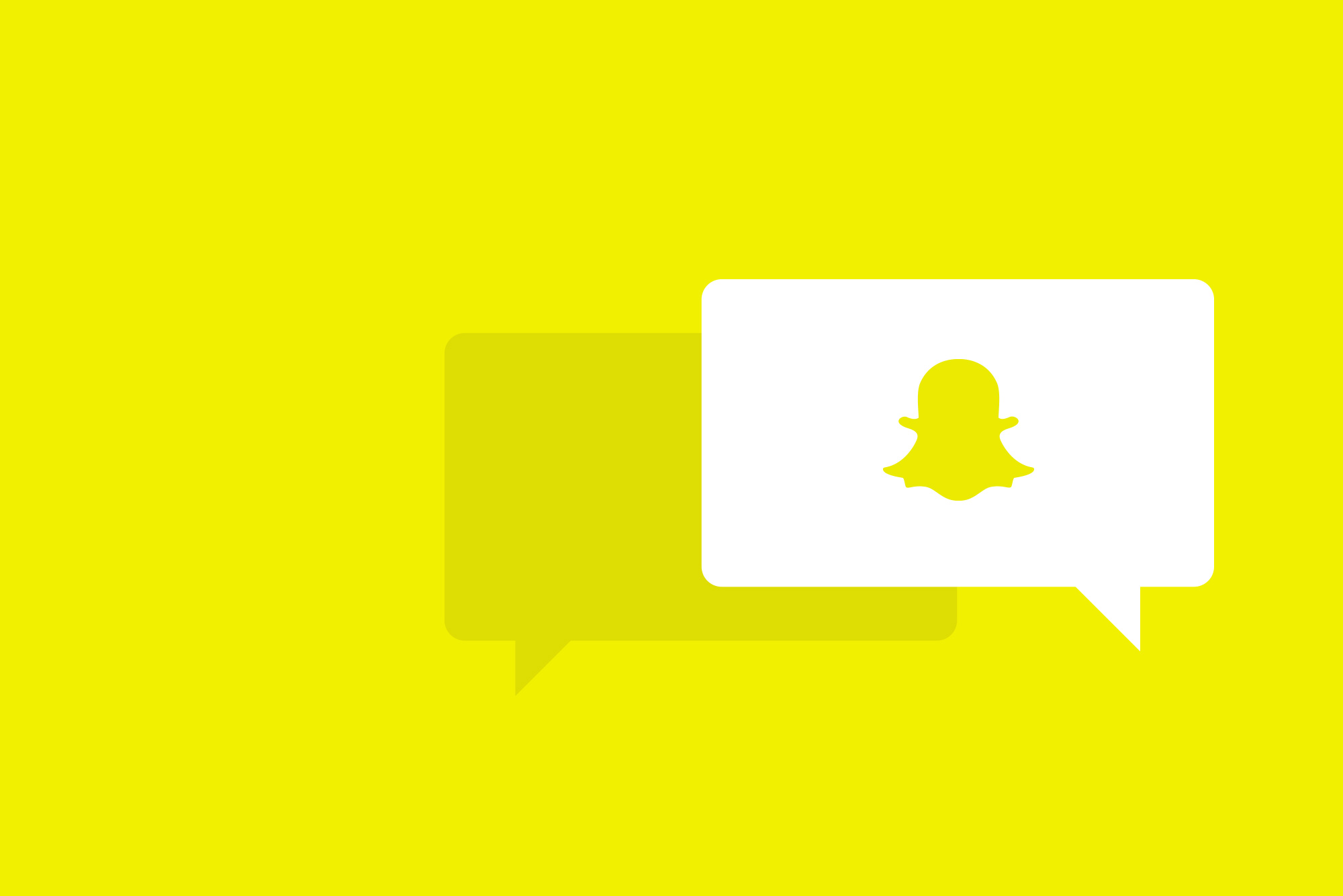 Speech bubbles with Snapchat logo on yellow background - Snapchat story