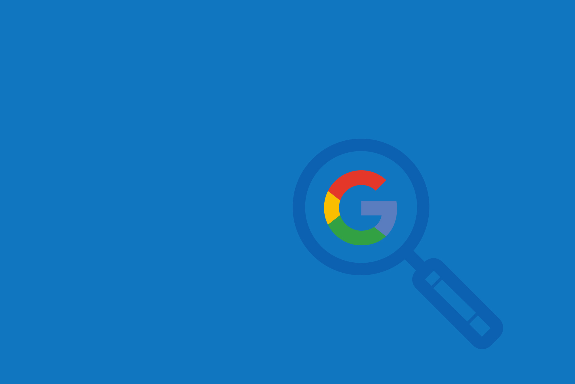 Magnifying glass over the Google logo on blue background