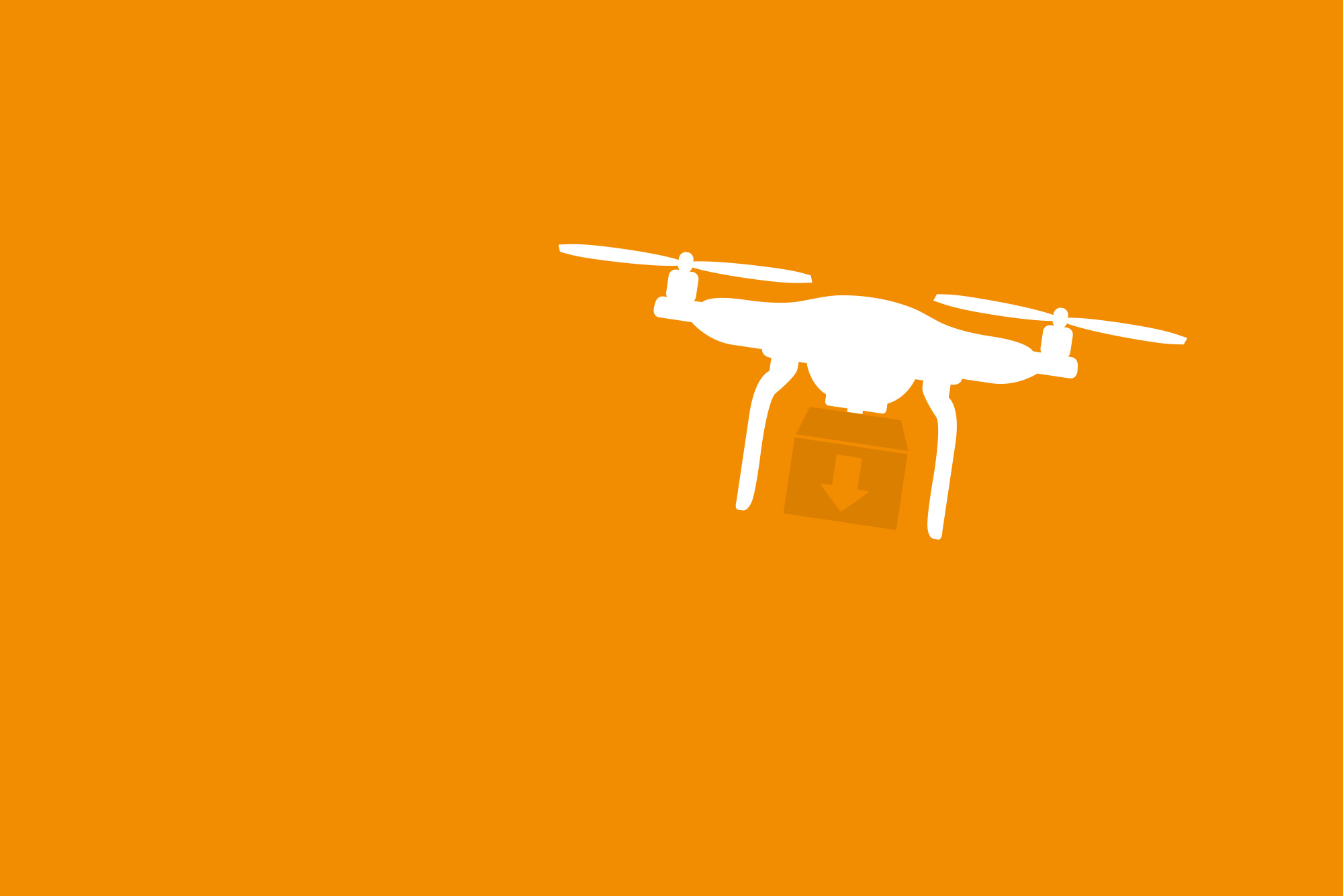 The outline of a drone in white on an orange background