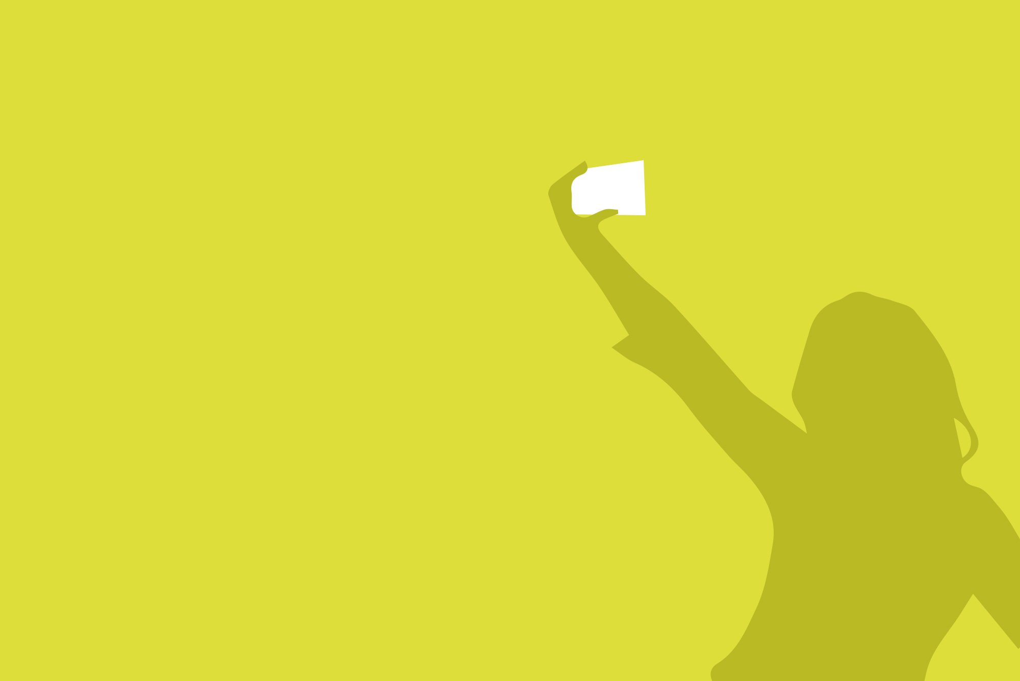 Silhouette of woman taking a selfie on yellow background