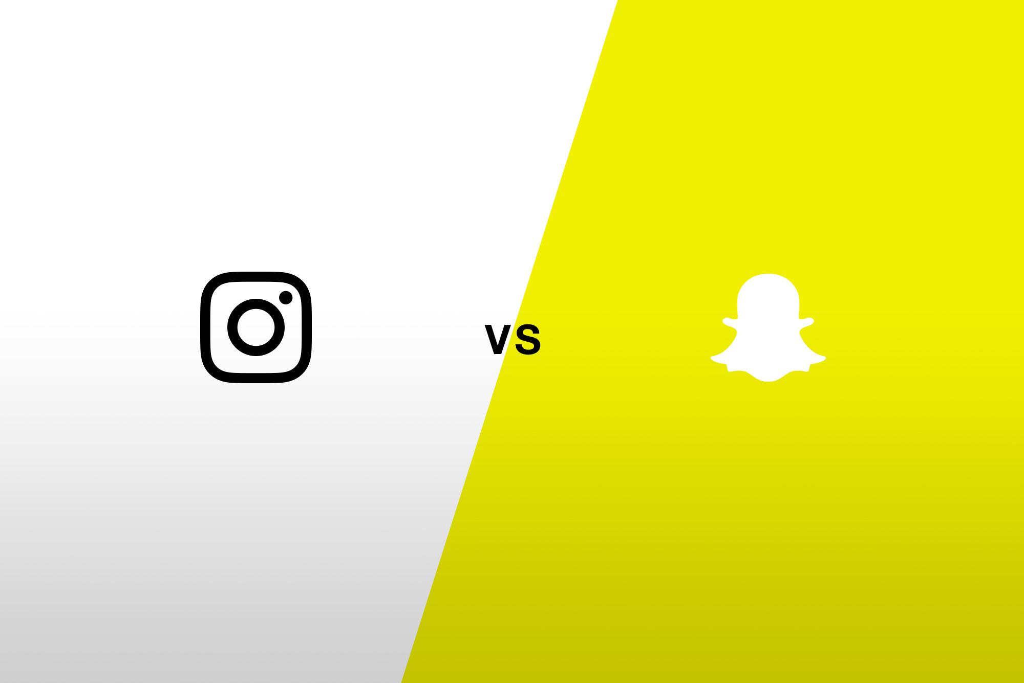 Instagram logo in black vs Snapchat logo in white. Half white, half yellow background