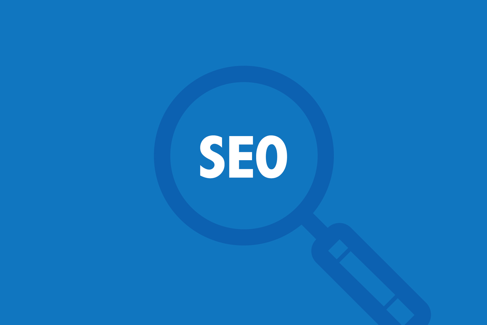 "A magnifying glass over white text saying ""SEO"" on a blue background"